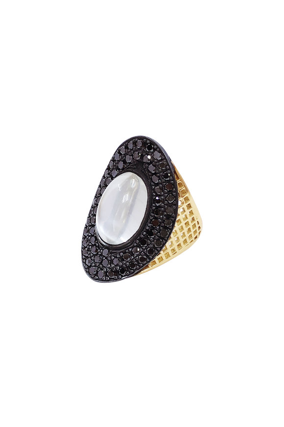 Ray Griffiths 18K Yellow Gold Regency Black Pavé Ring