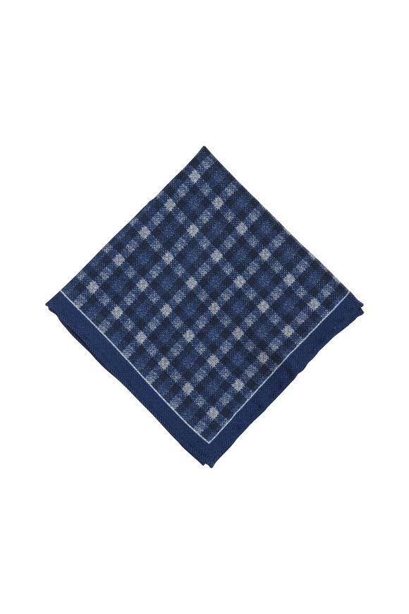 Brioni Blue Check Wool & Silk Pocket Square