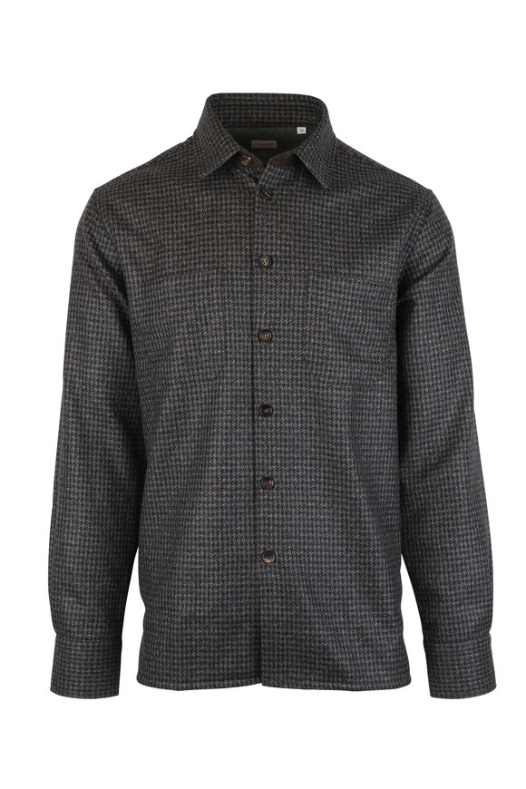 Luciano Barbera Charcoal Gray Wool Houndstooth Overshirt