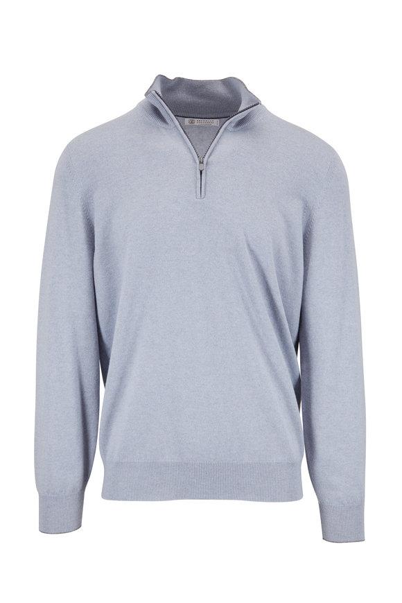 Brunello Cucinelli Light Blue Cashmere Quarter-Zip Pullover