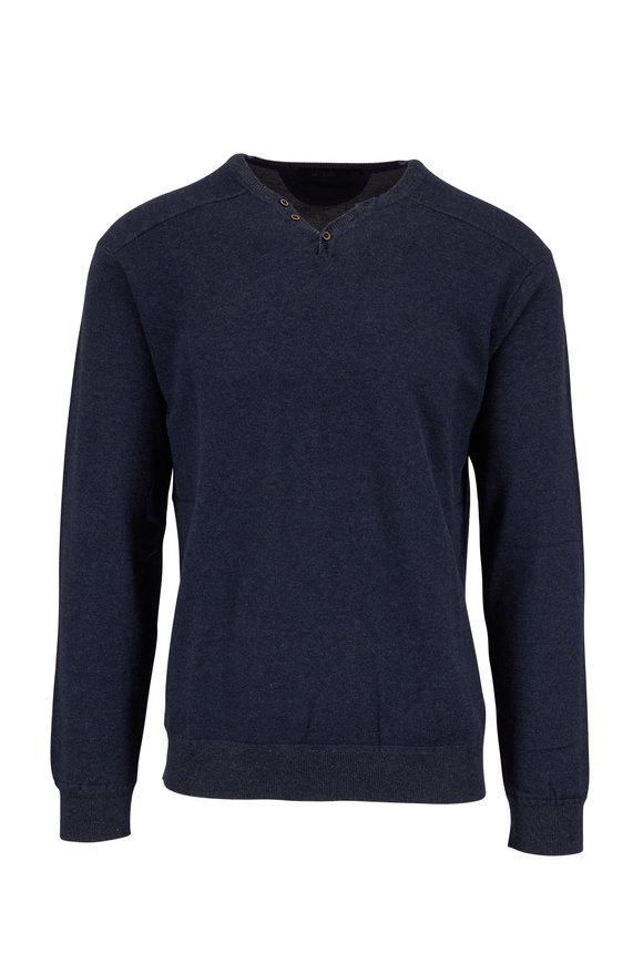 Raffi  Midnight Blue Cotton Henley