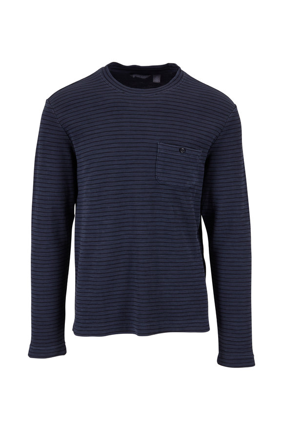 Michael Bastian Navy Striped Garment Dyed Pocket Shirt