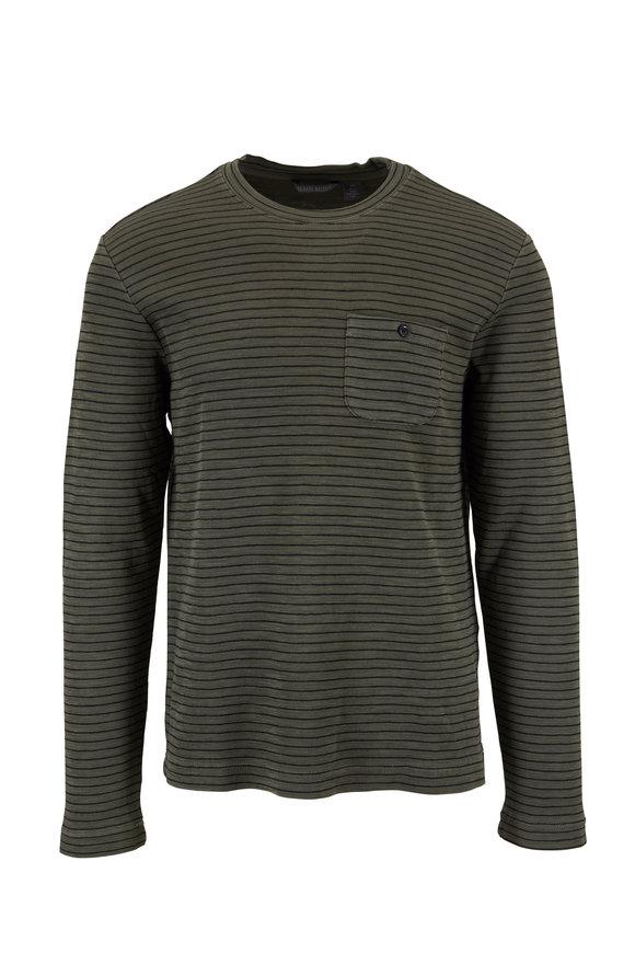 Michael Bastian Green Striped Garment Dyed Pocket Shirt