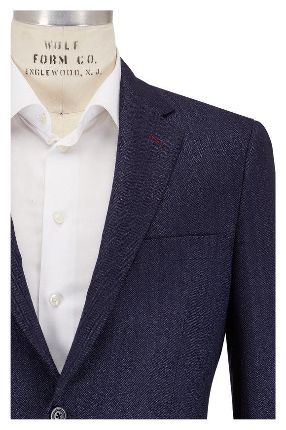 Samuelsohn Bennet Navy Blue Herringbone Wool Blend Sportcoat
