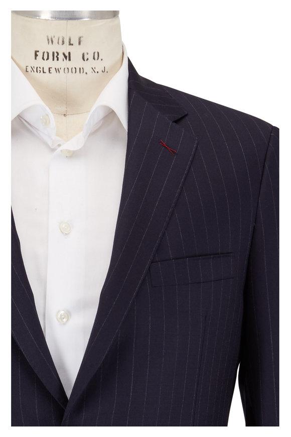 Samuelsohn Bennet Navy Classic Pinstriped Wool Suit