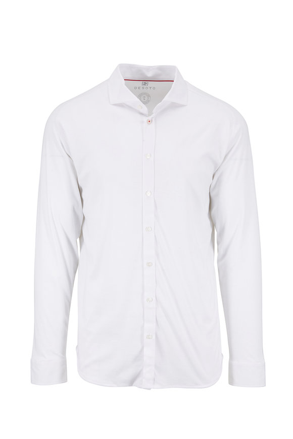 Desoto White Cotton Button Down Sport Shirt