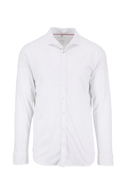 Desoto - White Cotton Button Down Sport Shirt