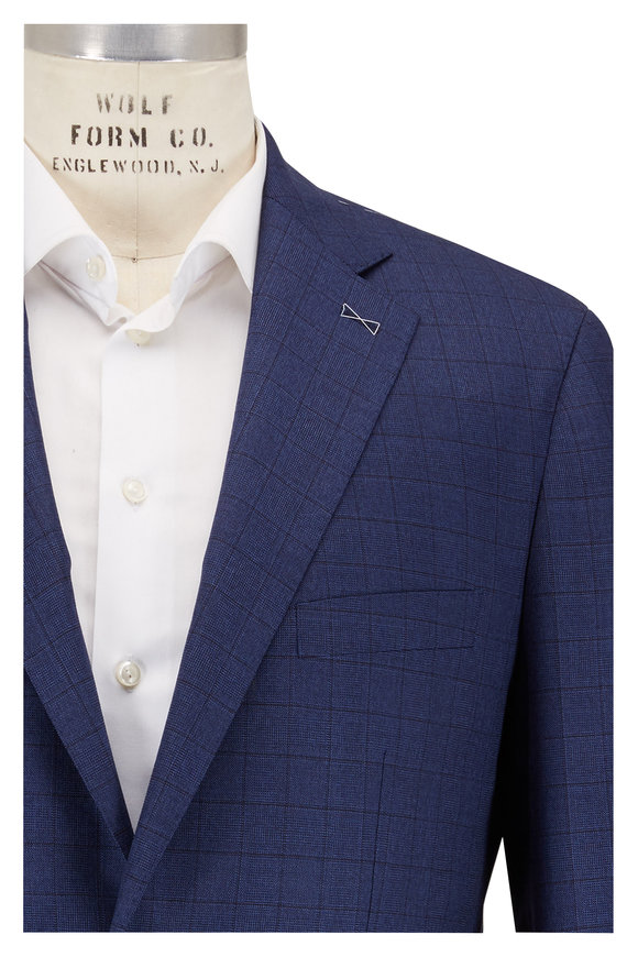 Atelier Munro Royal Blue Windowpane Wool Suit