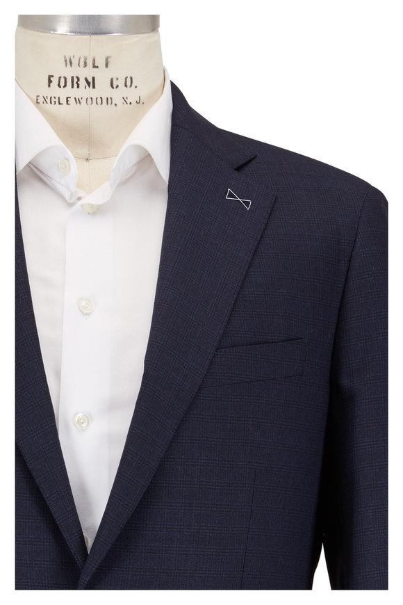 Atelier Munro  Navy Blue Plaid Wool Suit
