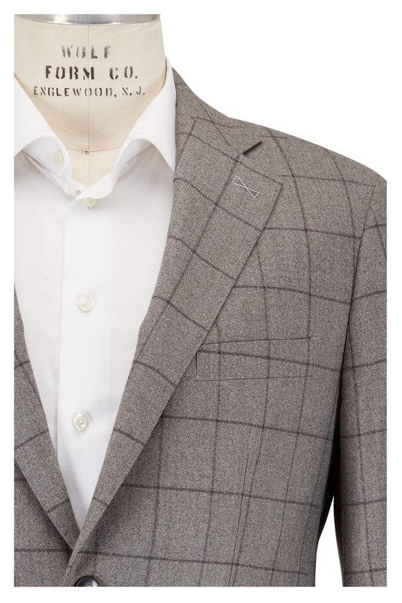 Atelier Munro Light Gray Windowpane Wool Suit