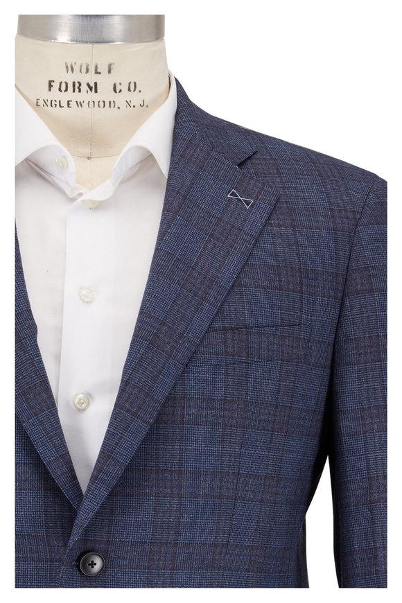 Atelier Munro Navy Blue & Brown Plaid Wool Suit