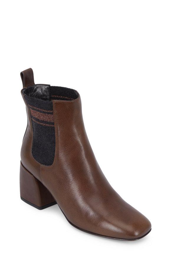 Brunello Cucinelli Fango Leather Double Gore City Ankle Boot, 65mm