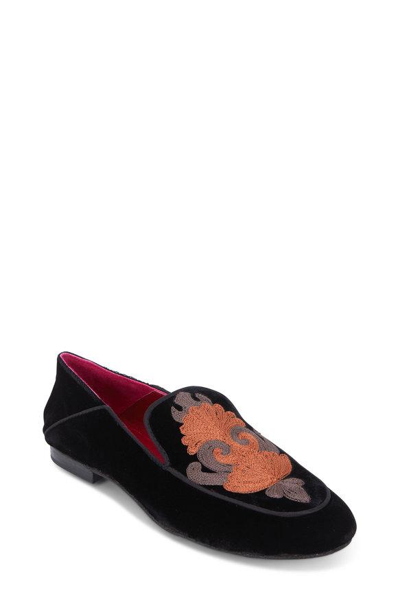 Maliparmi Black Velvet Embroidered Loafer