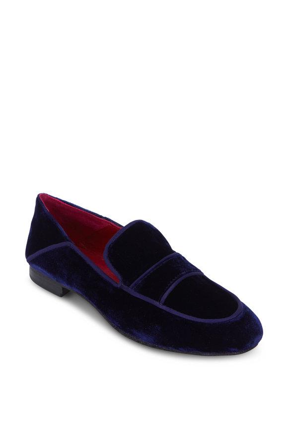 Maliparmi Navy Blue Velvet Moccasin Loafer