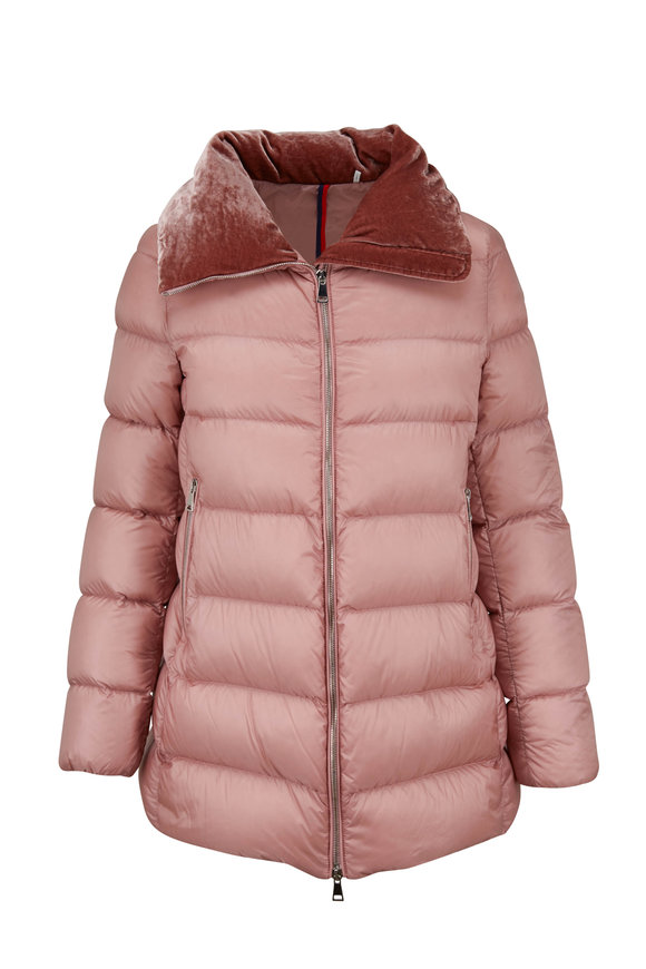 Moncler Torcol Pink Quilted Puffer With Velvet Collar
