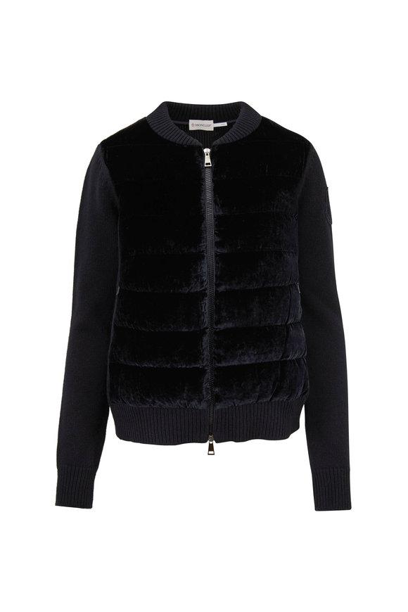 Moncler Maglione Black Velvet & Wool Zip Cardigan