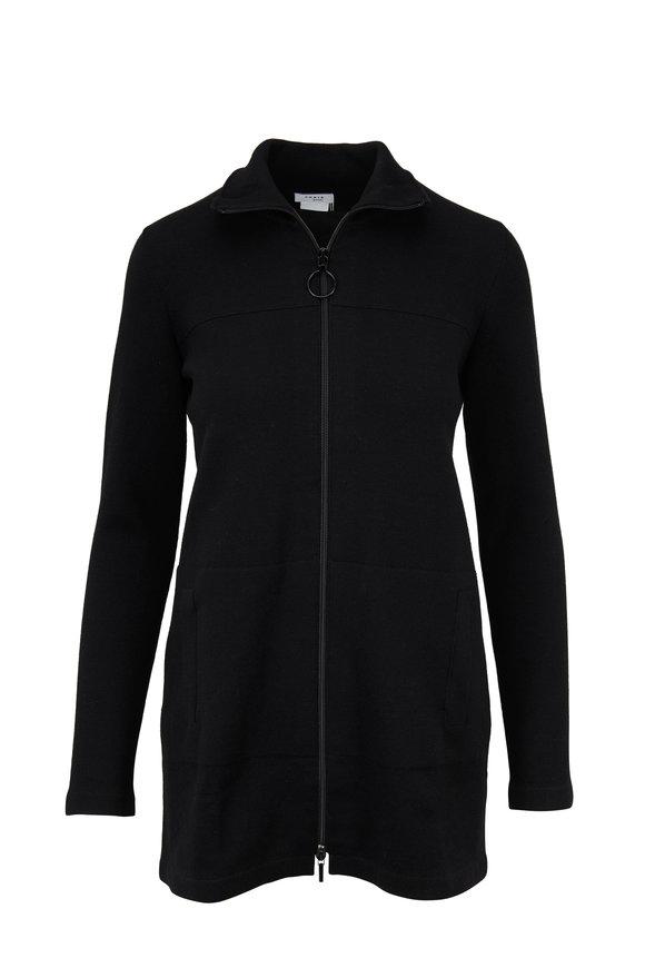 Akris Punto Black Stretch Wool Front-Zip Long Cardigan