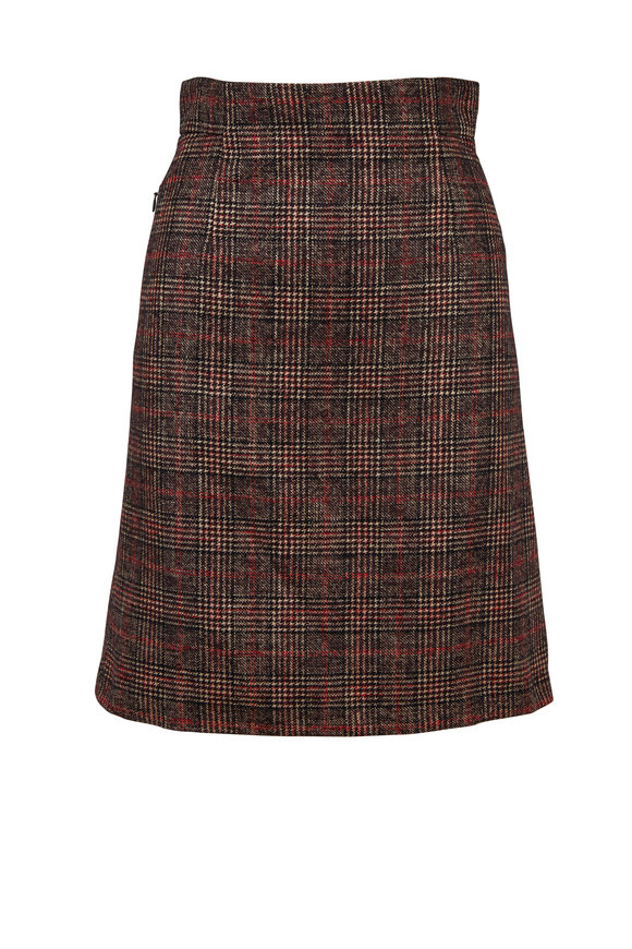 Akris Multicolor Wool & Silk Plaid A-Line Skirt