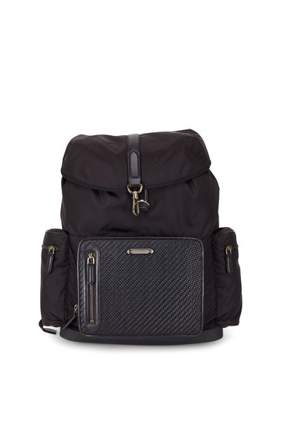 Ermenegildo Zegna - Black Nylon & Pelle Tessuta Backpack