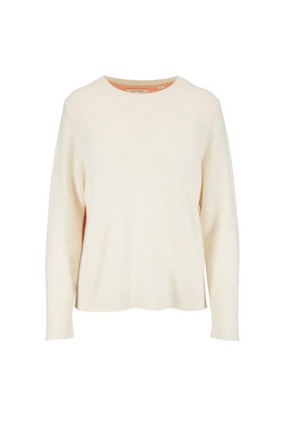 Chinti & Parker Cream, Peach, & Light Blue Colorblock Back Sweater