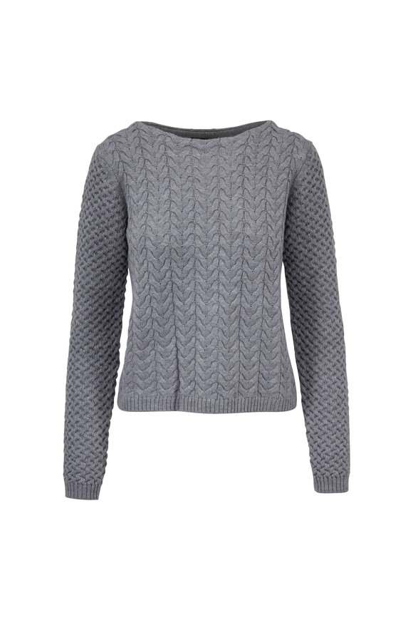 Raffi  Platinum Merino Wool Cable Boatneck Sweater