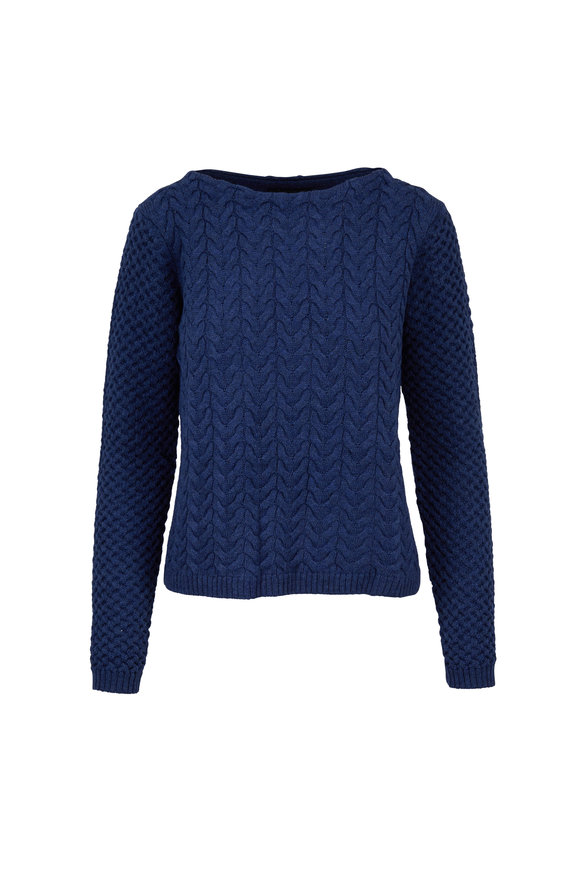 Raffi  Ocean Blue Merino Wool Cable Knit Boatneck Sweater