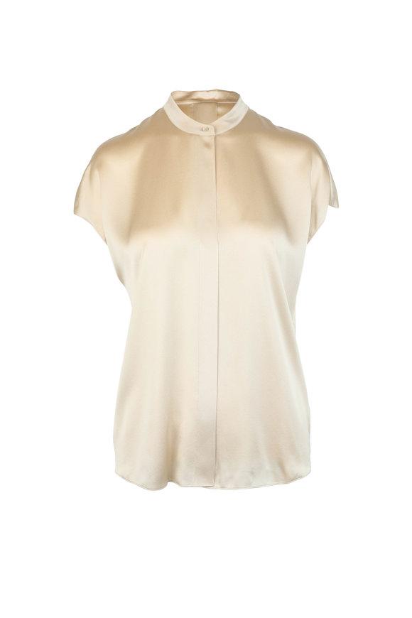 Vince Sandalwood Silk Slit Pullover Blouse