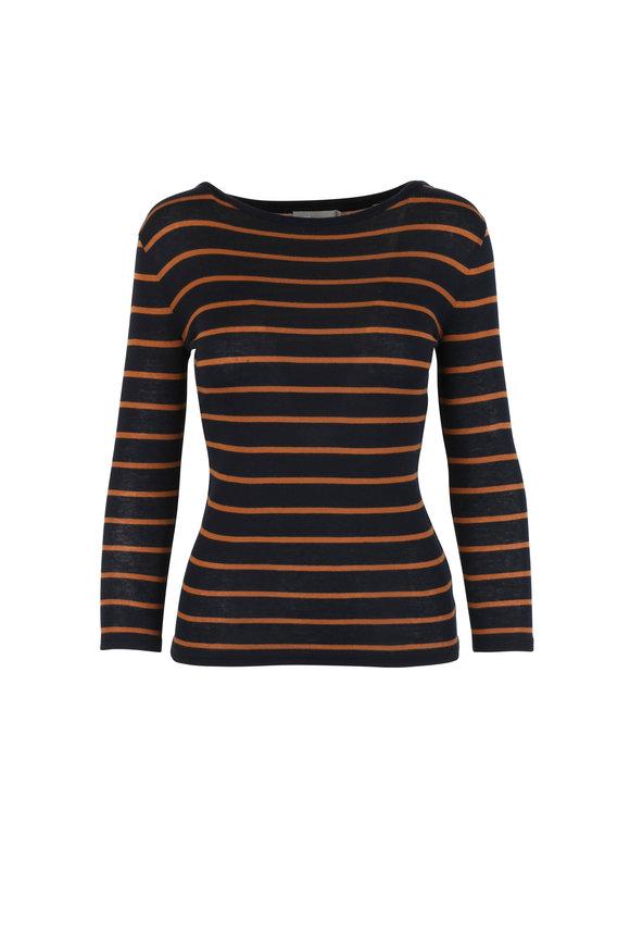 Vince Blue & Bronze Striped T-Shirt