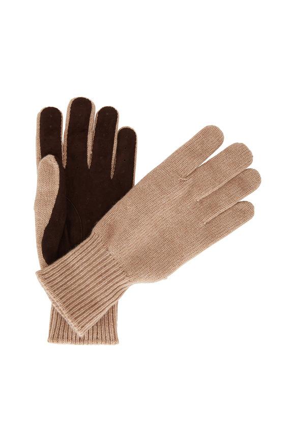 Brunello Cucinelli Camel Cashmere & Suede Gloves