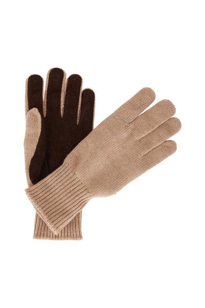 Brunello Cucinelli - Camel Cashmere & Suede Gloves