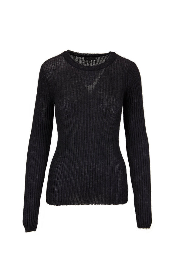 Rag & Bone Donna Black Crewneck Ribbed Sweater