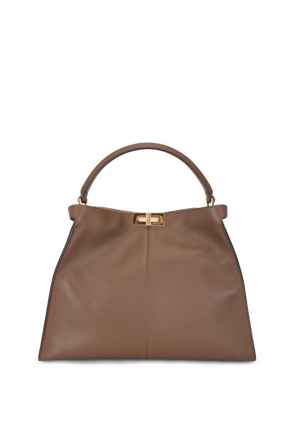 Fendi Peekaboo X-Lite Brown Leather Large Tote