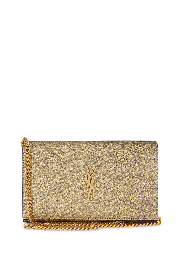 Saint Laurent Kate Gold Textured Cracked Lamé Chain Wallet