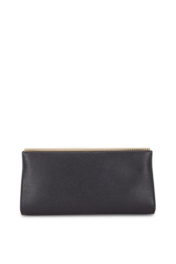 Valextra Black Vitello Leather Clutch
