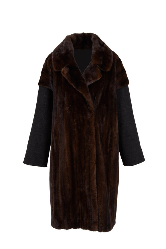 Oscar de la Renta Furs Mahogany Mink With Camel Hair Sleeves Coat