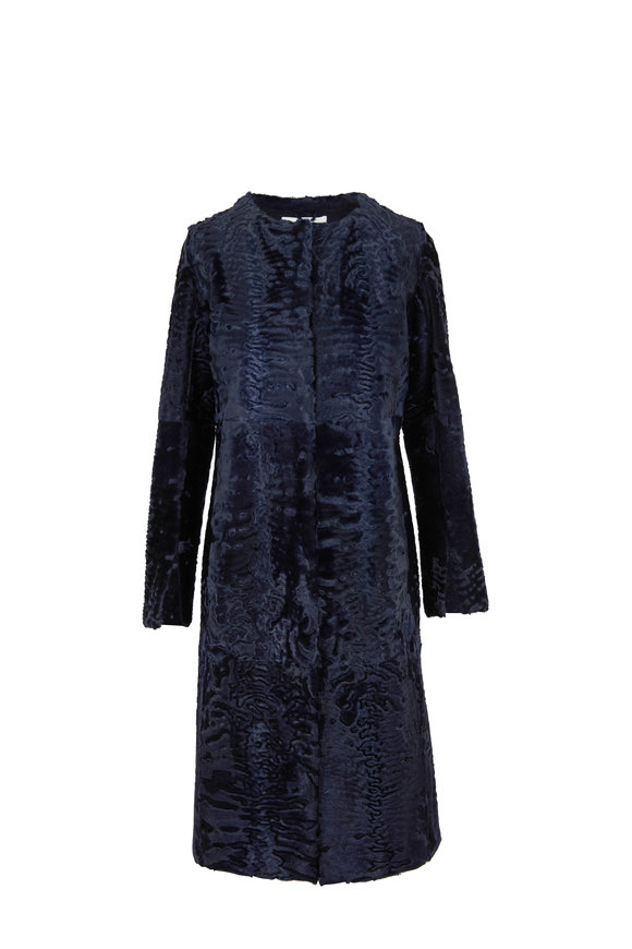 Oscar de la Renta Furs Navy Blue Persian Lamb Fitted Coat
