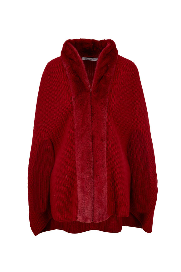 Oscar de la Renta Furs Dark Red Cashmere & Wool Knitted Mink Trim Cape