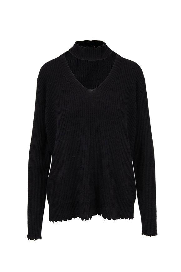 R13 Black Ribbed Cashmere Choker Neck Sweater