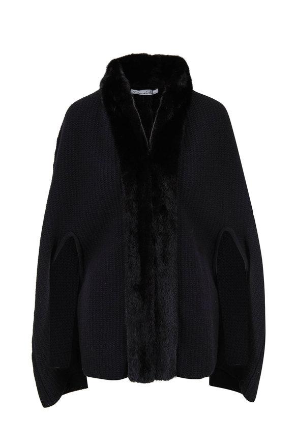 Oscar de la Renta Furs Black Cashmere & Wool Knitted Mink Trim Cape