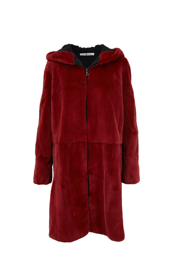 Oscar de la Renta Furs Brick Plucked Mink Hooded Coat