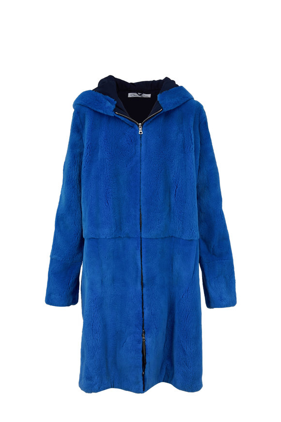 Oscar de la Renta Furs Lagoon Blue Plucked Mink Hooded Coat