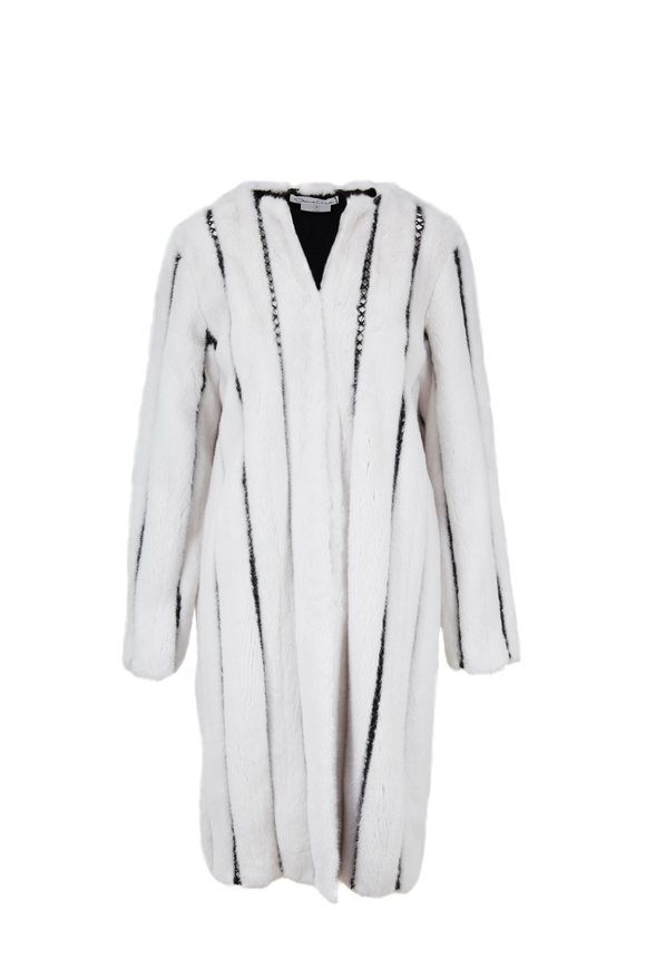 Oscar de la Renta Furs White Mink Ladder Stitch Coat