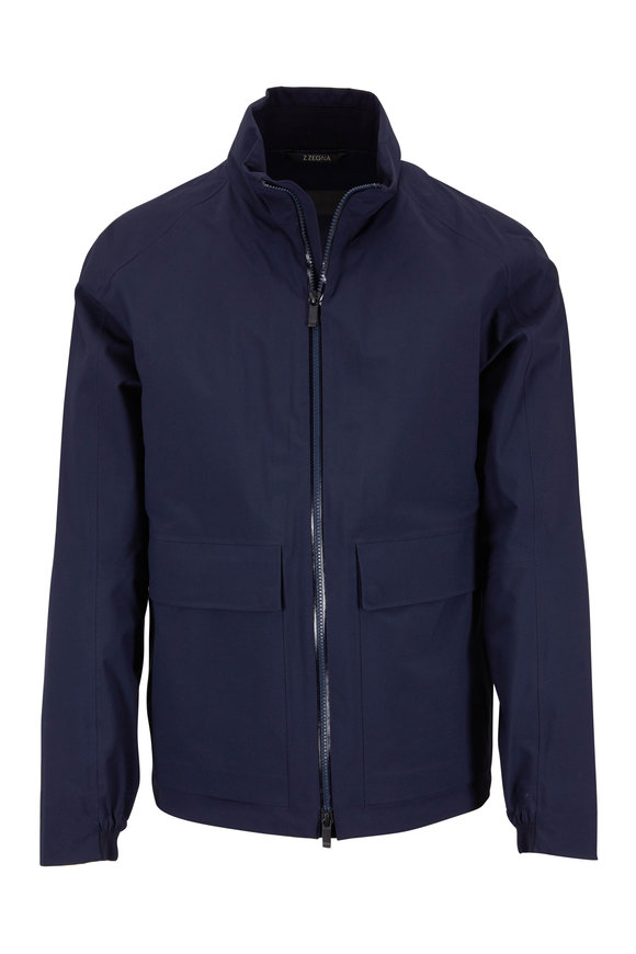 Z Zegna Navy Blue Soft Shell Jacket