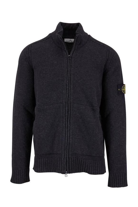 Stone Island Charcoal Gray Wool Front Zip Cardigan