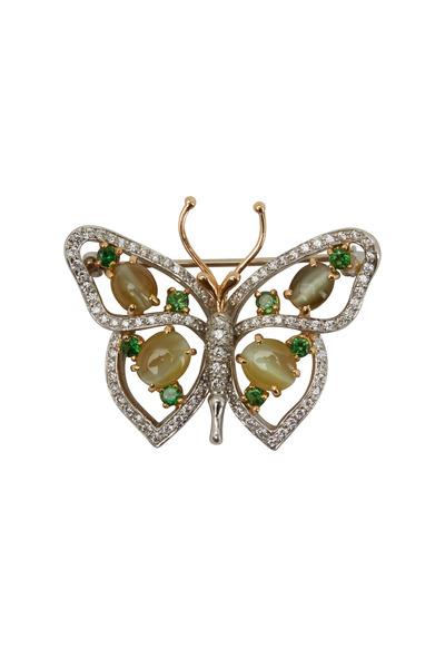 Oscar Heyman - Platinum Cats Eye Tsavorite Butterfly Pin