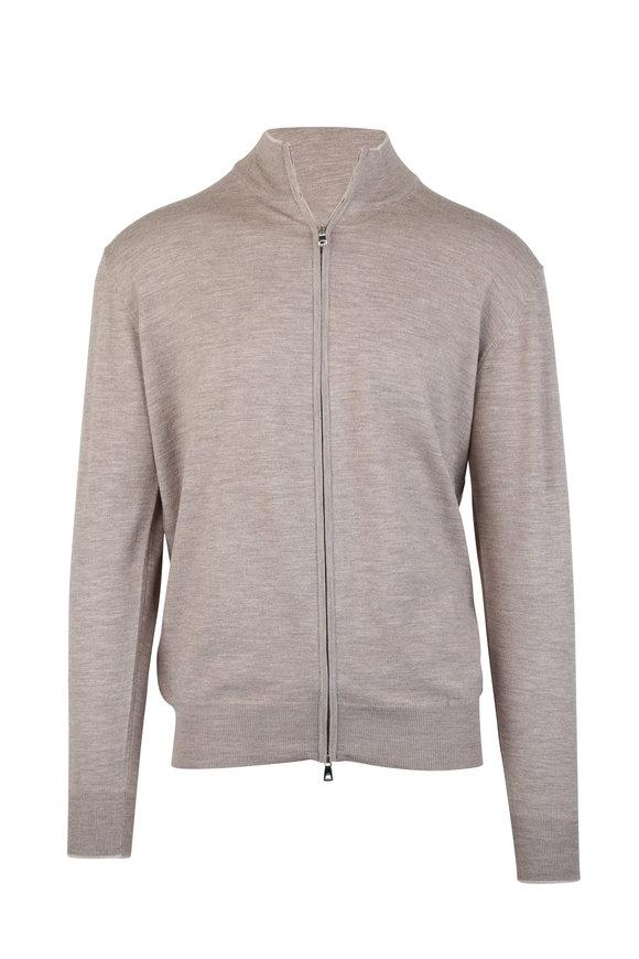 Peter Millar Taupe Wool Blend Zip Sweater