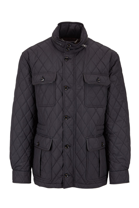 Peter Millar Black Quilted All Weather Discovery Jacket