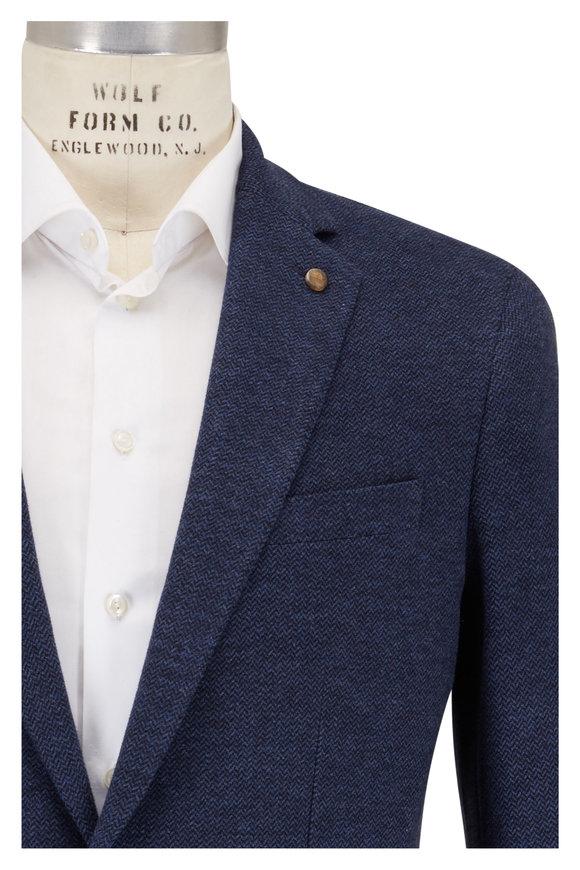 Peter Millar Barch Navy Blue Cotton Herringbone Sportcoat