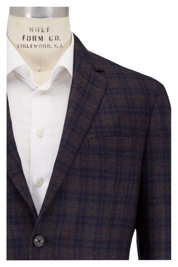 Maurizio Baldassari Brown & Navy Blue Plaid Wool Sportcoat