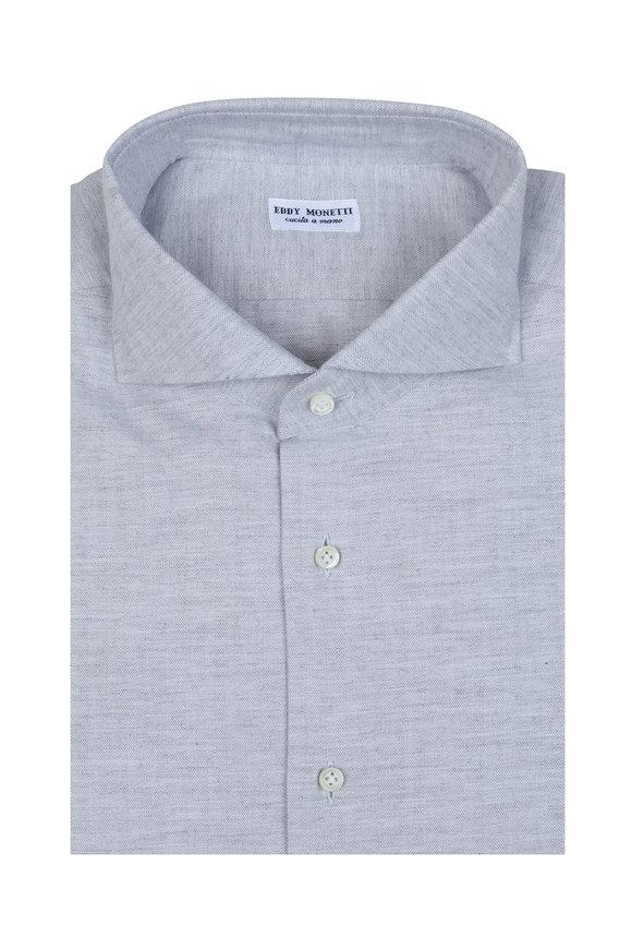 Eddy Monetti Silver Herringbone Sport Shirt